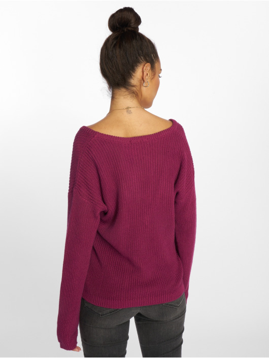 NA-KD trui Deep Front V-Neck Knitted pink