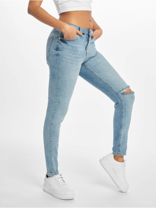 NA-KD Tynne bukser Low Rise Distressed blå