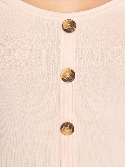 NA-KD Vestido Ribbed Button Up fucsia