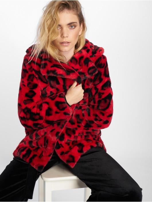 NA-KD winterjas Faux Fur Leo rood
