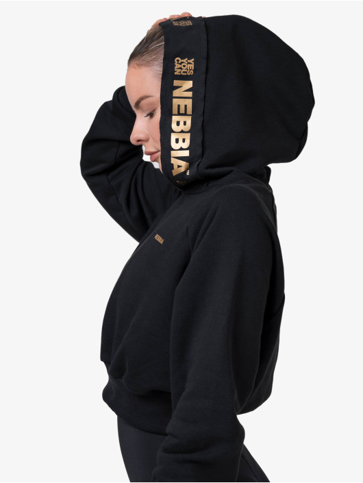 Nebbia Bluzy z kapturem Cropped czarny