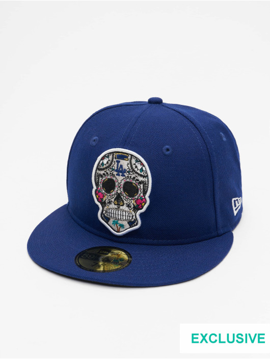 New Era Casquette Fitted MLB Los Angeles Dodgers Sugar Skull 59Fifty bleu