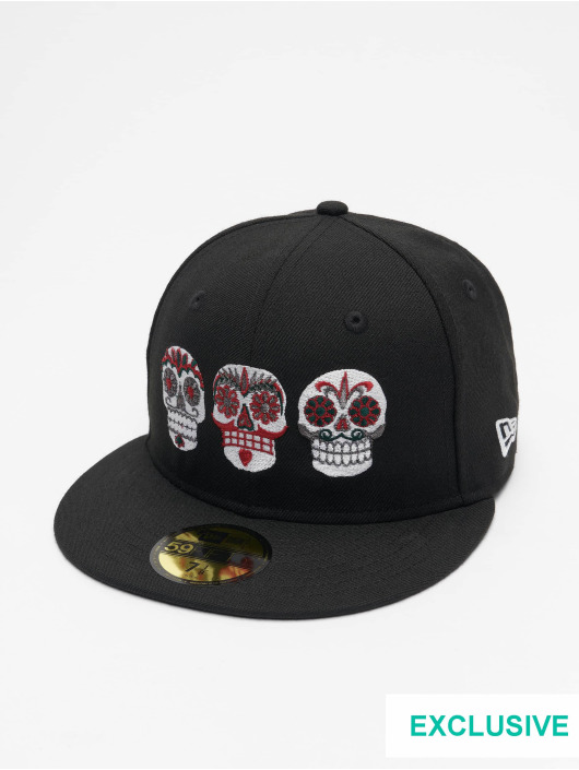 New Era Casquette Fitted Mexico Three Sugar Skulls 59fifty noir