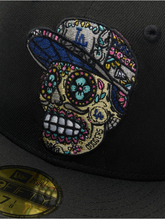 New Era Fitted Cap Los Angeles Dodgers Skull Poly 59Fifty zwart