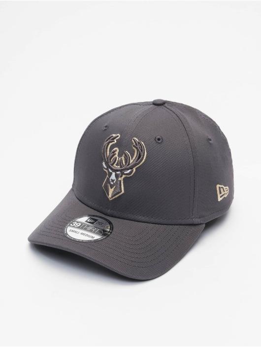New Era Flexfitted Cap NBA Milwaukee Bucks Gray Pop 39Thirty grau