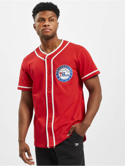 New Era Shirt NBA Philadelphia 76ers Piping Button Up red