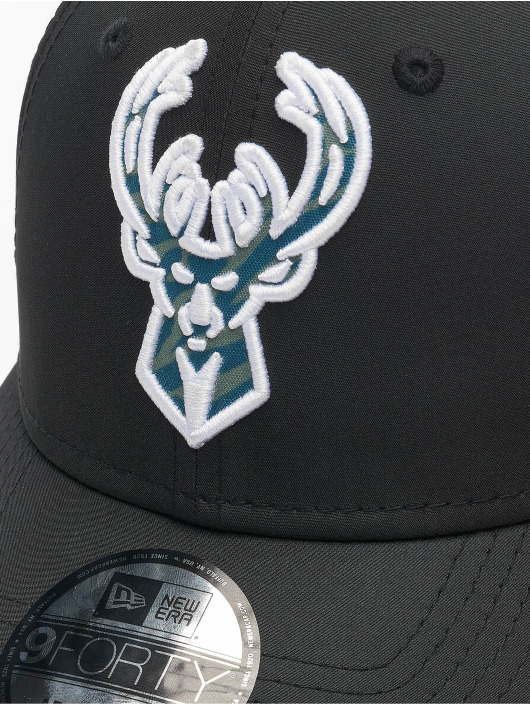 New Era Snapback Caps 9Forty Hook Milwaukee Bucks svart