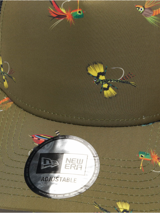 New Era Trucker Cap All Over Print Fishing 9Forty AF olive