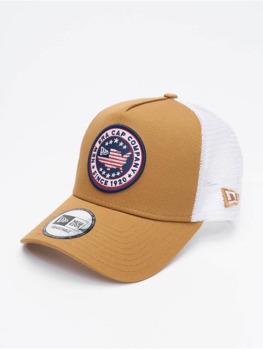 New Era Trucker Caps USA Patch béžový