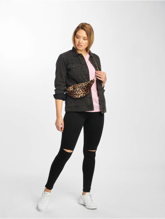 New Look Футболка Leopard Burnout розовый