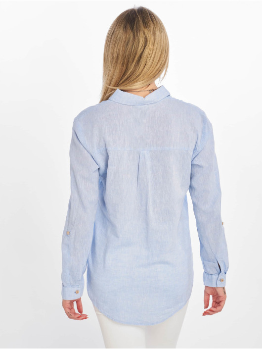 New Look Blouse/Tunic F T Lucy Linen 2 Pocket blue