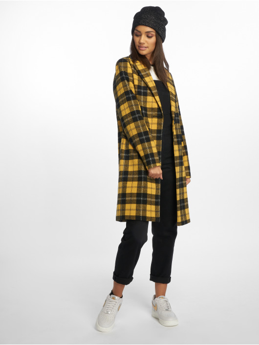 New Look Coats Mustard Check Crombie yellow