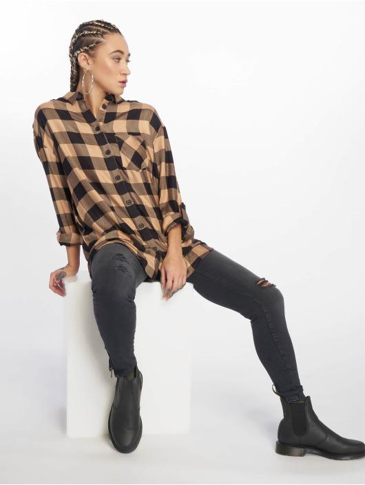 New Look Hemd Erin Camel Check PKT braun
