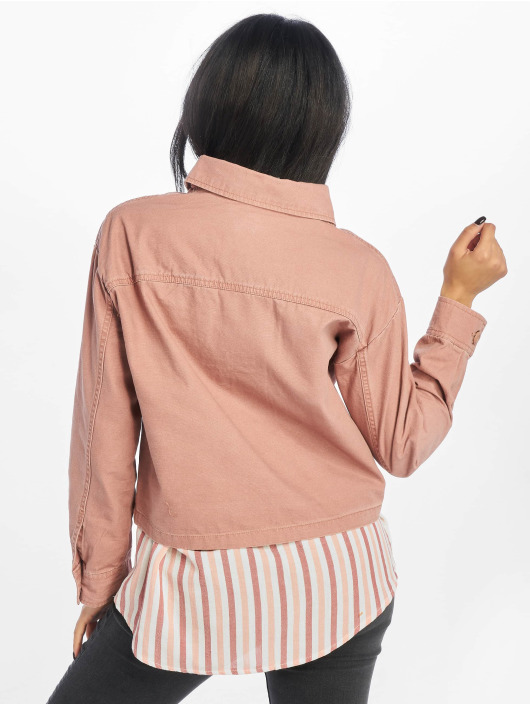 New Look Jean Jakker Bonnie Cropped Utility Shacket rosa
