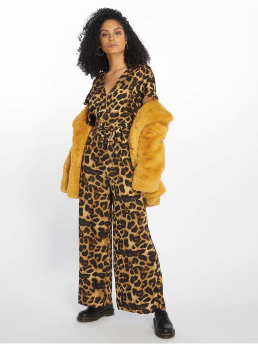 New Look Jumpsuit Go Leopard Satin Kimono braun