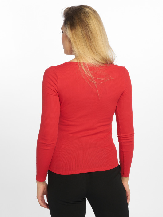 New Look Longsleeve Y Neck Popper Rib red