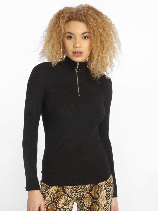 New Look Longsleeve Zip High Neck schwarz