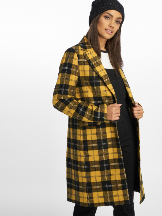 New Look Manteau Mustard Check Crombie jaune