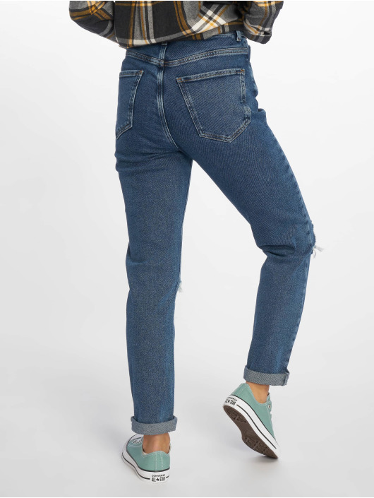 New Look Mom Jeans Ripped blå