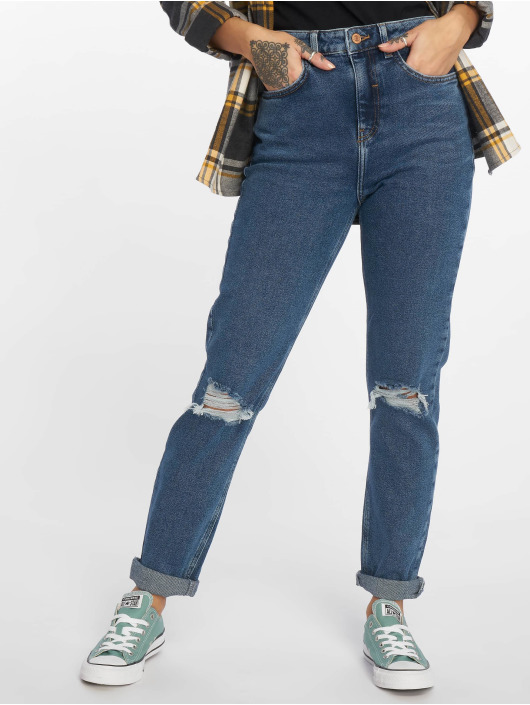 New Look Mom Jeans Ripped blauw