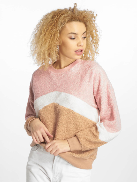 New Look Pullover Chevron Borg pink