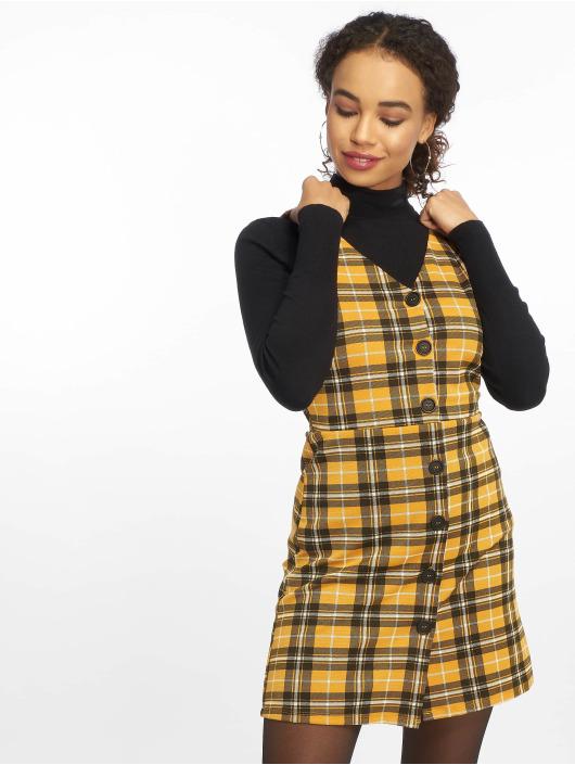 New Look Robe Mustard Check BTN Thru Pinny jaune