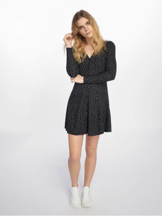 New Look Robe Candice Spot S/TCH L/SLV Button noir