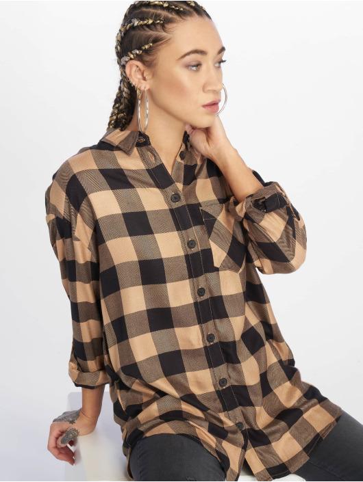 New Look Shirt Erin Camel Check PKT brown