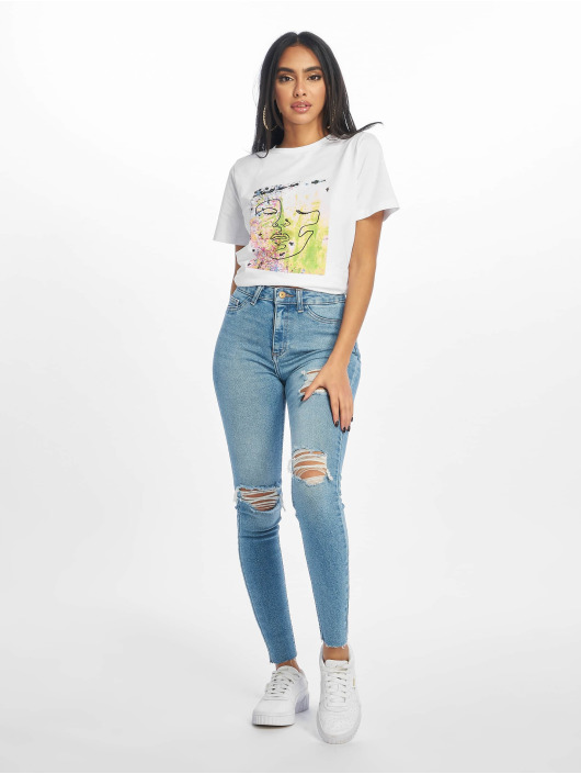 New Look Skinny Jeans Mid Rip Disco Charlotte blau