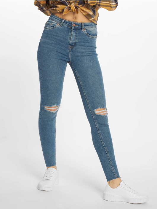 New Look Skinny Jeans Ripped Cut Off Dicso Boul modrý