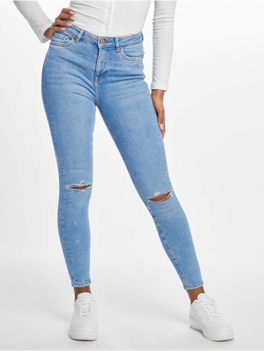 New Look Skinny Jeans Rip Fray Hem Disco Jaffa niebieski
