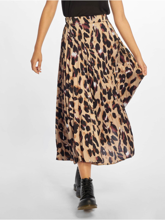 New Look Sukňe Satin Animal Pleated hnedá