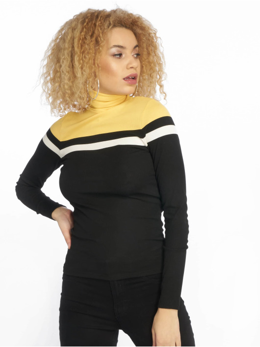 New Look Swetry Colour Block Rib Roll Neck czarny