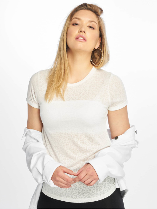 New Look T-Shirt Leopard Burnout blanc