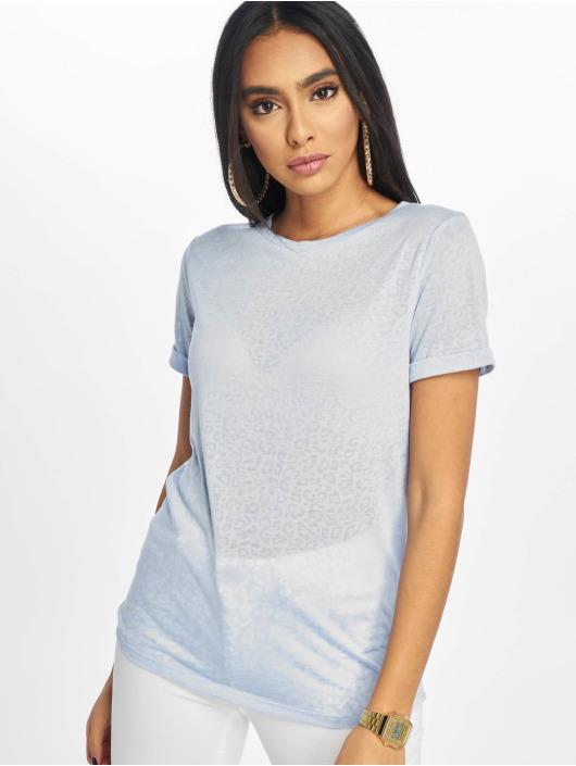 New Look T-Shirt Leopard Burnout blau