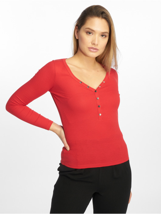 Femme Popper Look New Manches 616640 Y Neck Rib T Rouge Longues shirt WEH9D2IY