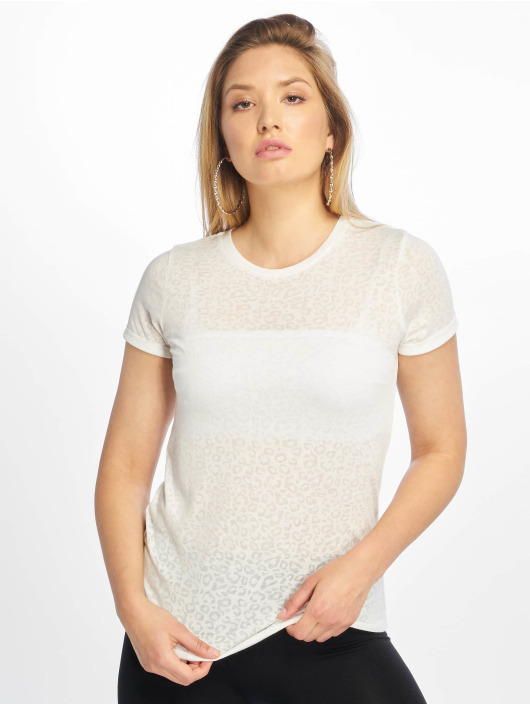 New Look T-Shirty Leopard Burnout bialy