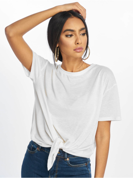 New Look T-Shirty Pl Tie Front bialy