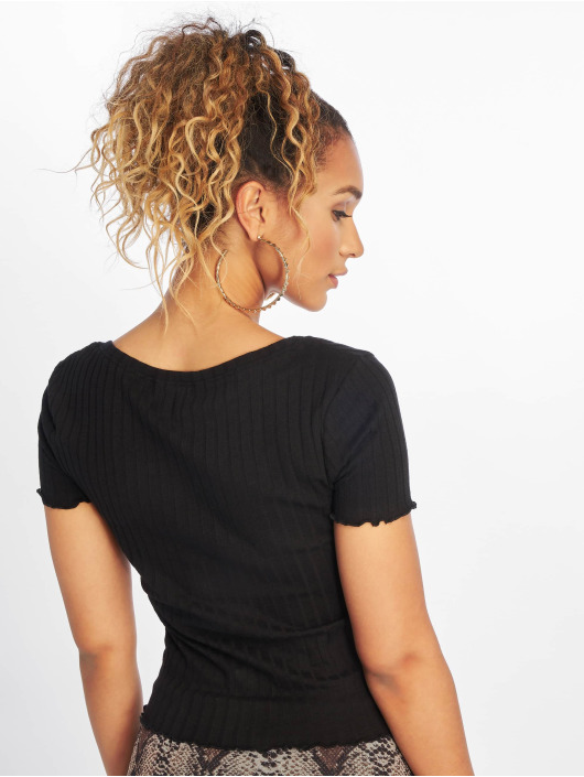 New Look Top Rouloux Button Short Sleeve black