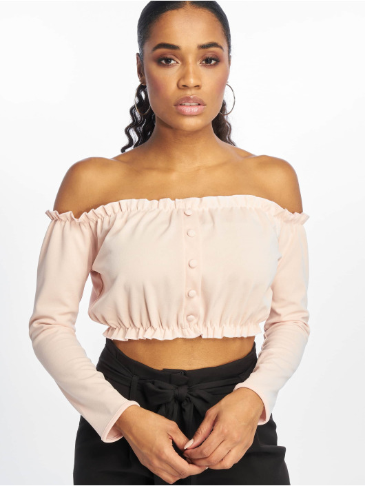 New Look Top Go Button Front Bardot rosa