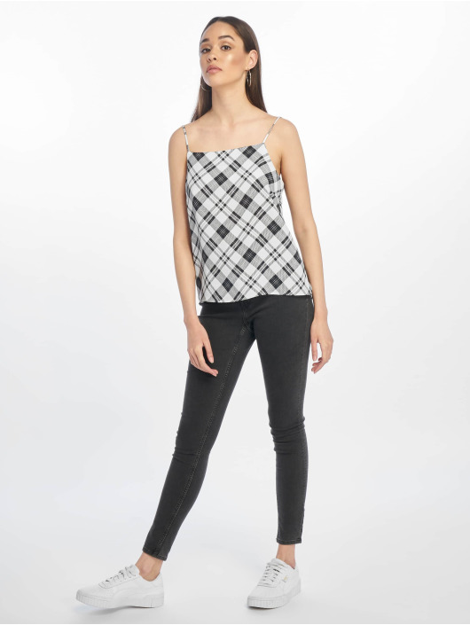 New Look Top Marcus Check Square Neck Cami weiß