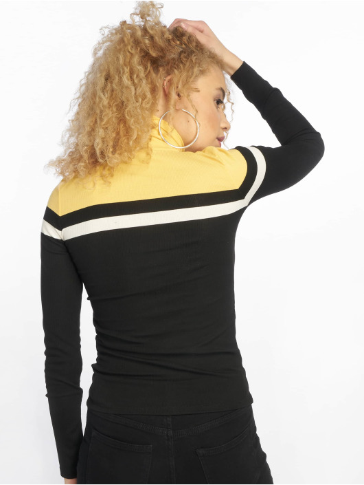 New Look Tröja Colour Block Rib Roll Neck svart