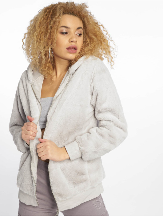 New Look Zip Hoodie T Faux Fur šedá