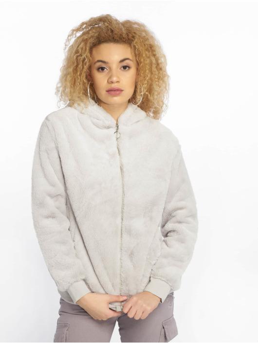 New Look Zip Hoodie T Faux Fur grå