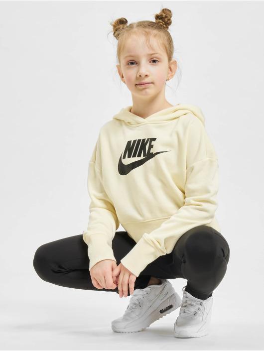 Nike Bluzy z kapturem Crop bezowy