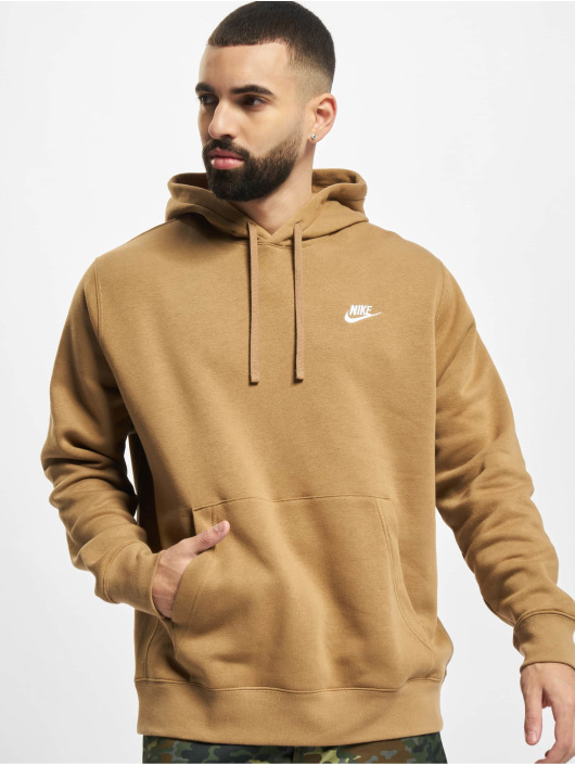 Nike Bluzy z kapturem Club Po Bb bezowy