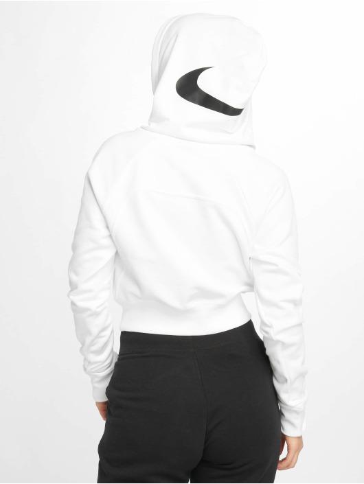 Nike Bluzy z kapturem Swoosh Cropped bialy
