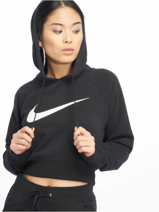 Nike Bluzy z kapturem Swoosh Cropped czarny