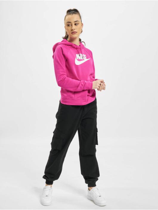 Nike Bluzy z kapturem W Nsw Essntl Flc Gx czerwony