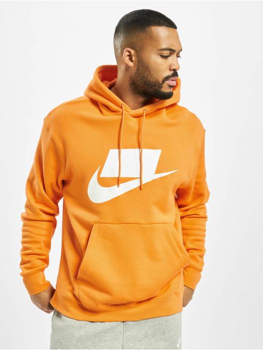 Nike Bluzy z kapturem PO FT pomaranczowy
